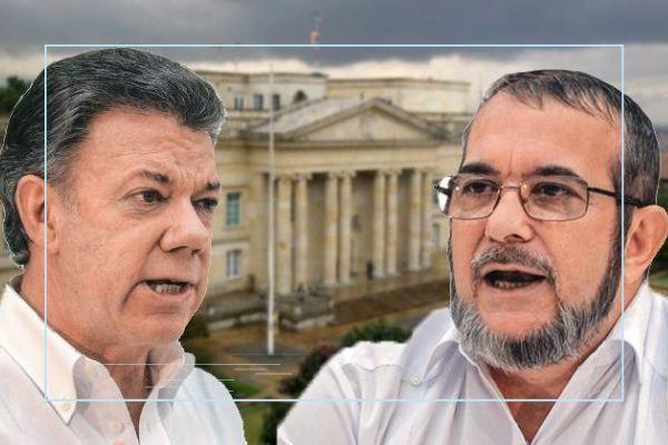 Juan Manuel Santos y Timochenko.